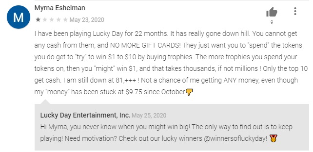 lucky day app negative review comment