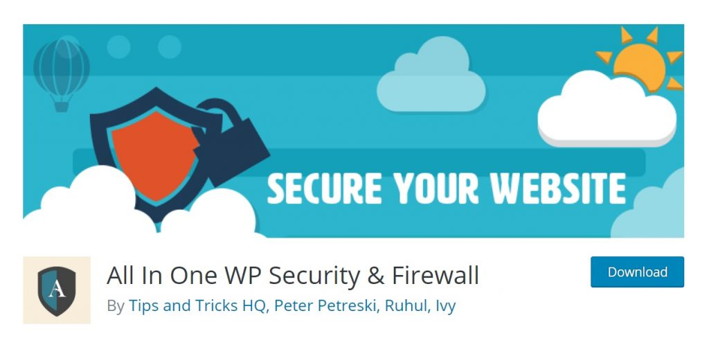 All In One WP Security plugin page