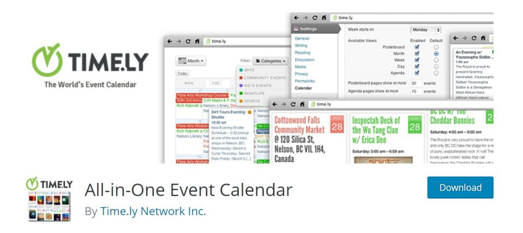 All-in-One Event Calendar time.ly for wordpress