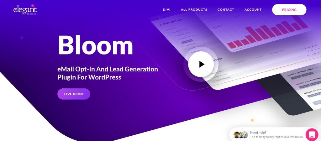 Bloom wordpress plugin homepage