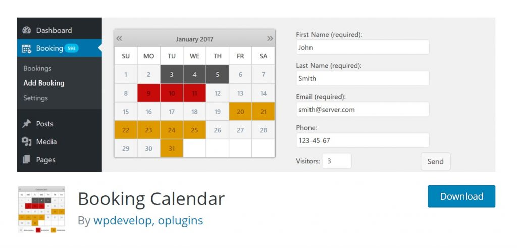 Booking Calendar download page for wp