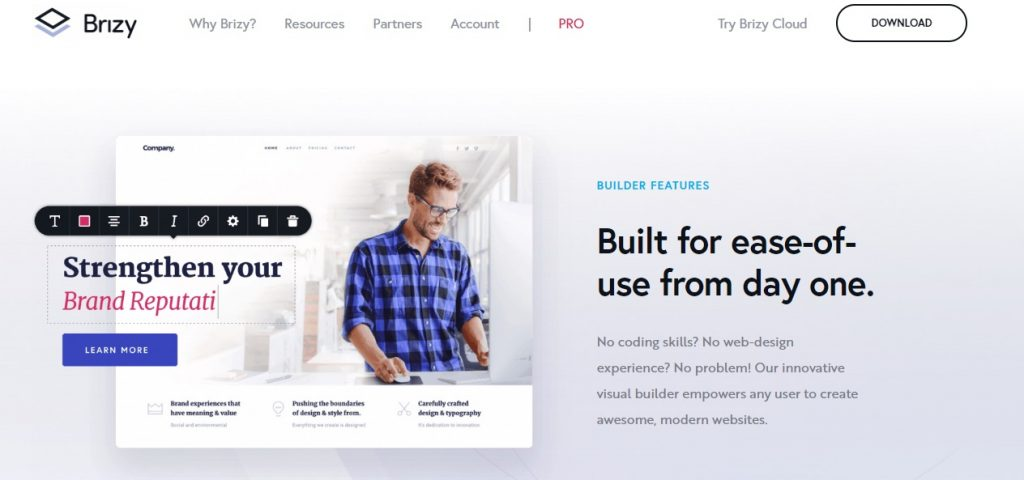 Brizy WordPress Page Builder preview