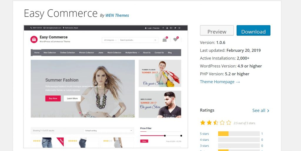 Easy Commerce homepage layout