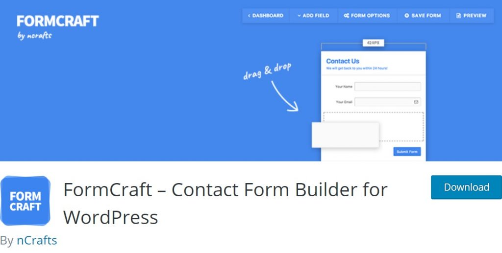 Form Craft wp homepage layout