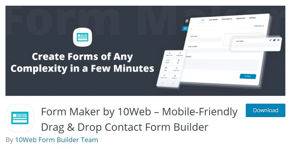 Form Maker wp download page preview