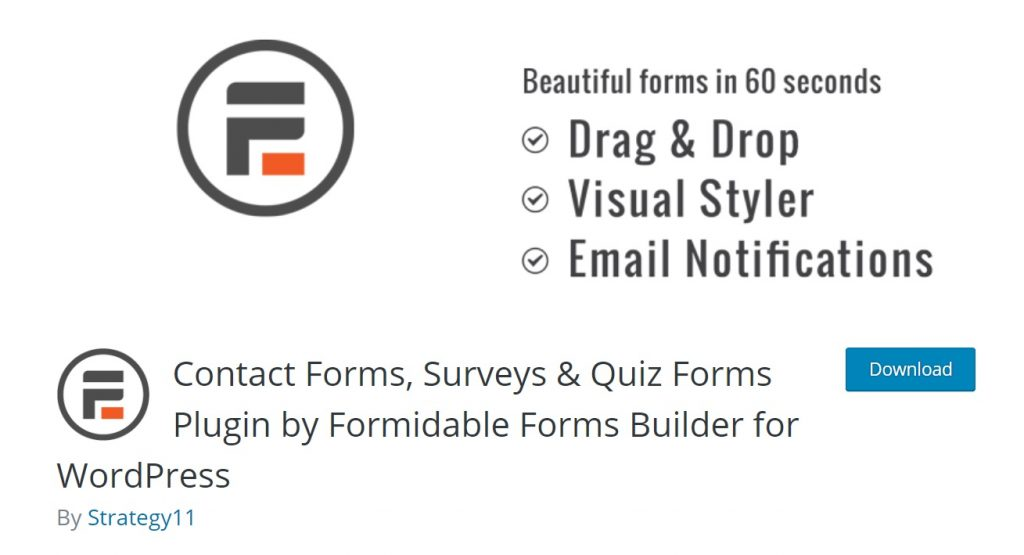 Formidable Forms download page layout