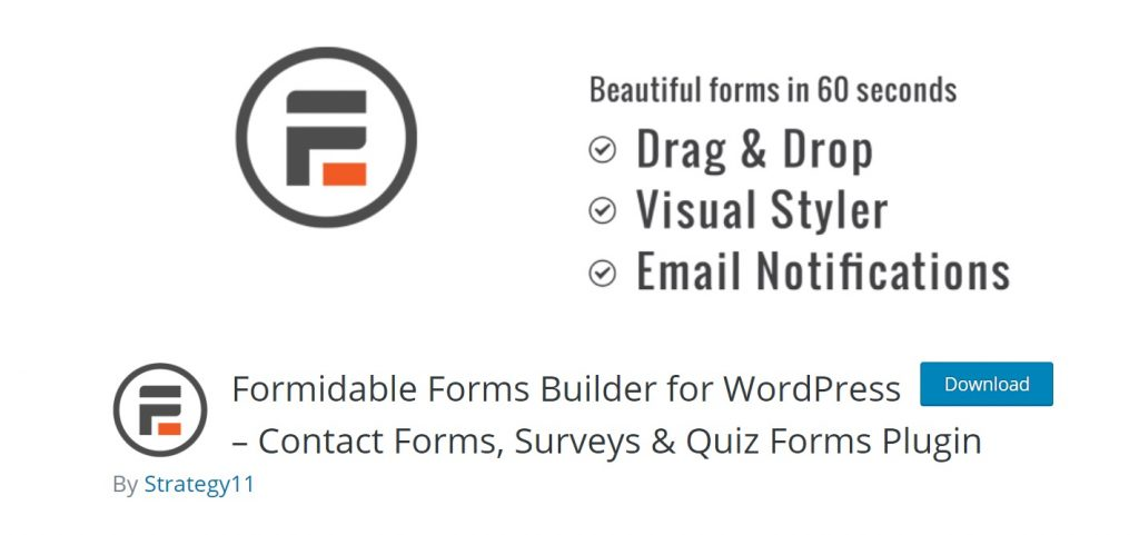 Formidable Forms wp download page preview