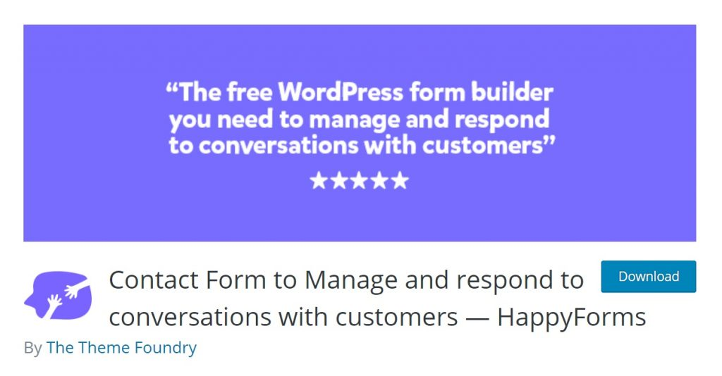 Happy Forms download from wordpress page preview