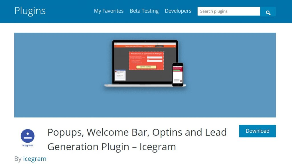 Icegram wordpress plugin page preview