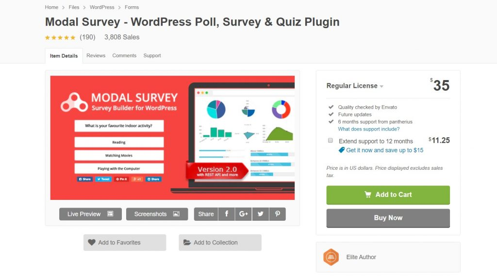 Modal Survey plugin for wp preview