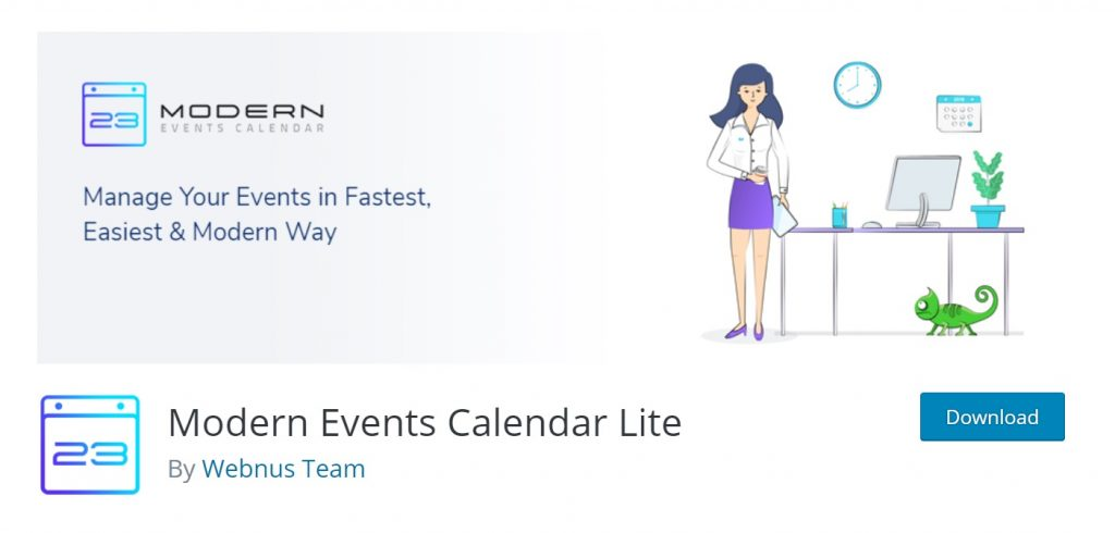 Modern Event Calendar download page for wp