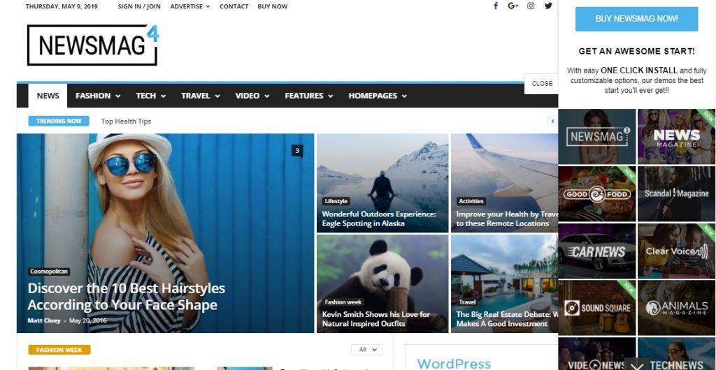 Newsmag wp theme layout