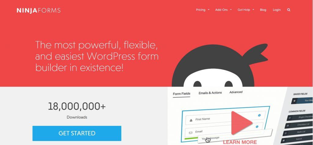 Ninja Forms homepage preview