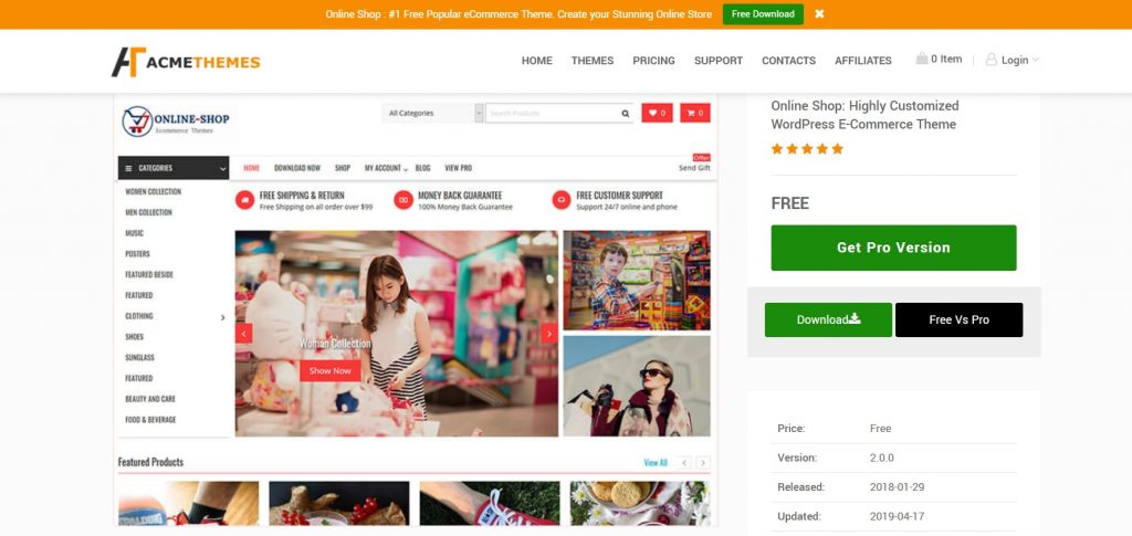 Online Shop theme for woo commerce wordpress sites