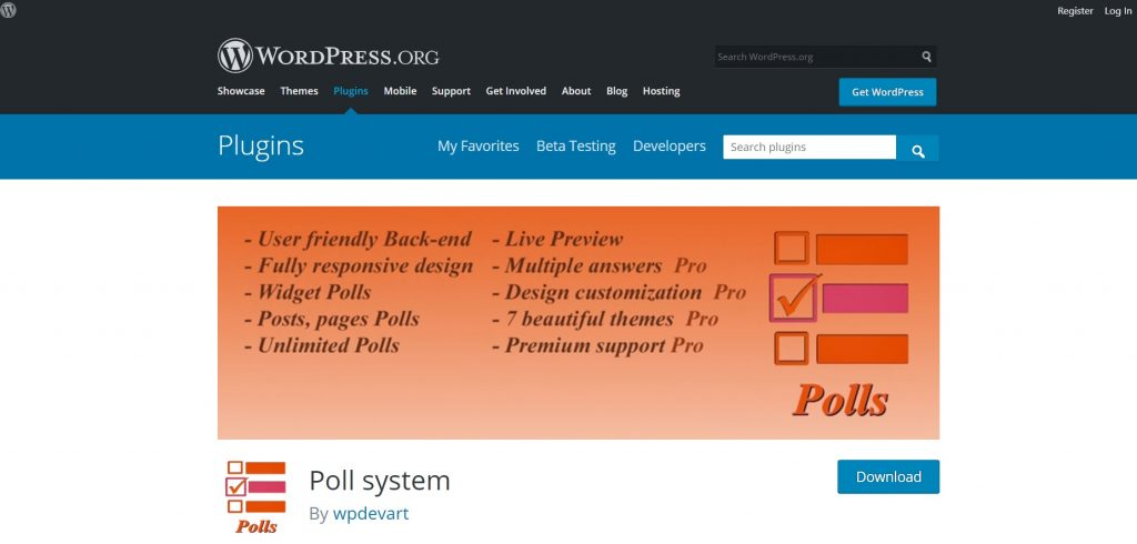 Poll System wp plugin download page preview