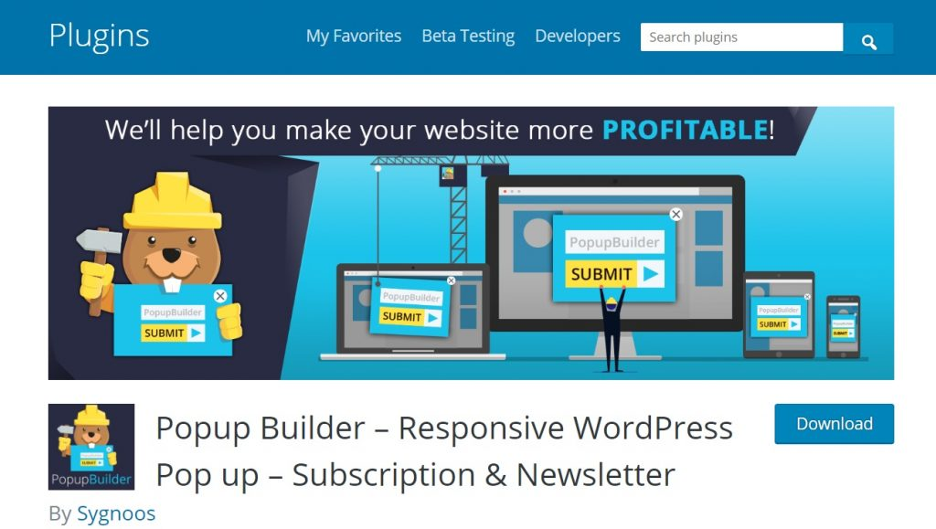 Popup Builder wp plugin preview page