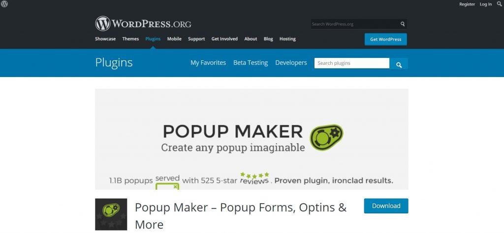 Popup Maker WordPress Popup Plugin preview page