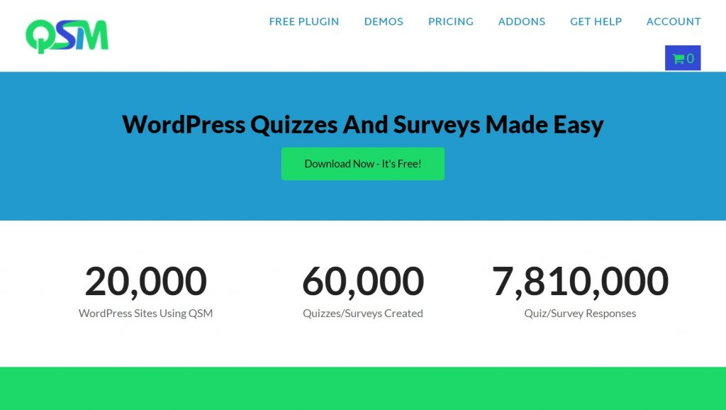 Quiz and Survey Master wordpress plugin homepage preview