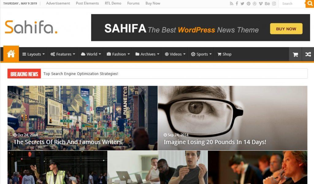 Sahifa wordpress theme preview