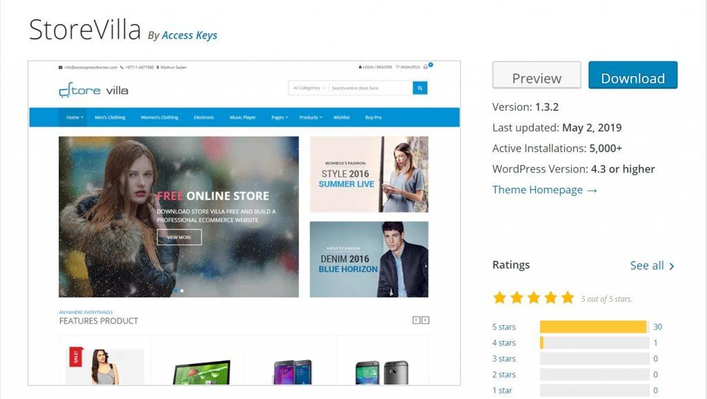 StoreVilla commercial wordpress theme preview
