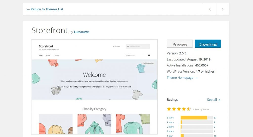 Storefront woo commerce theme preview page