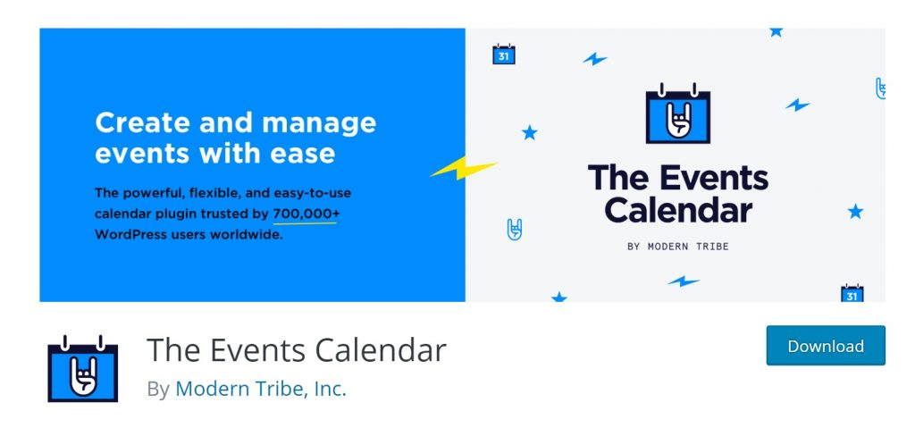 The Events Calendar wp plugin page