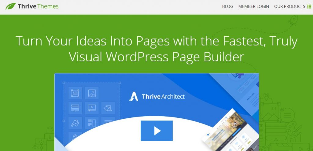 Thrive Architect wp page builder preview