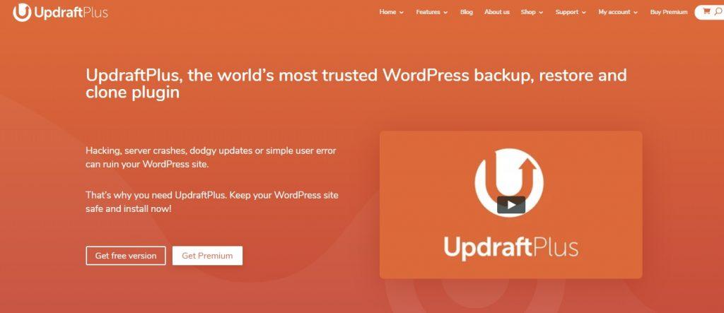 UpdraftPlus wp plugin homepage preview
