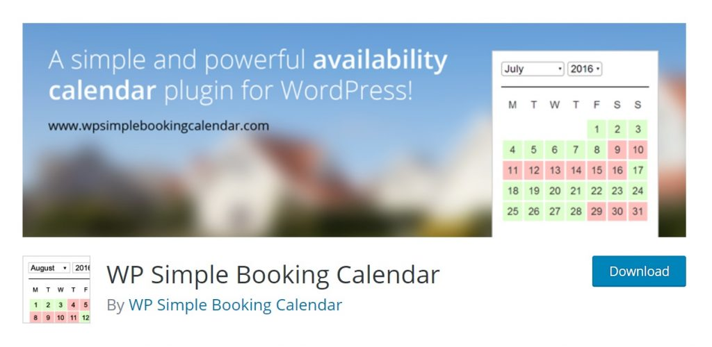 WP Simple Booking Calendar wp download page