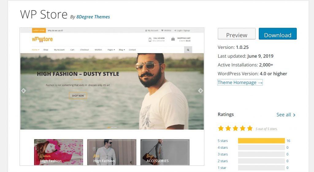 WP Store theme for woo commerce wordpress sites