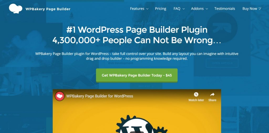 WPBakery WordPress Page Builder homepage layout