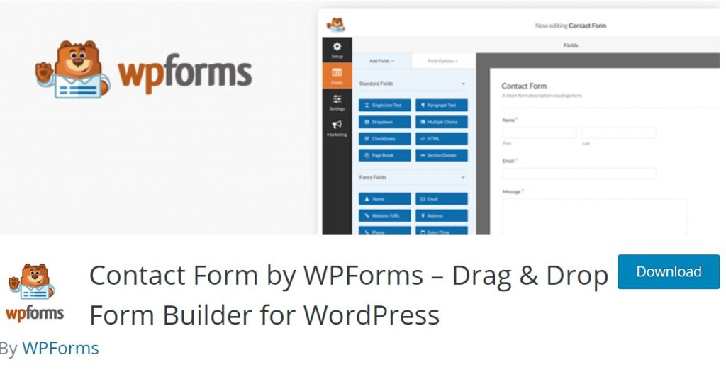 WPForms download page layout