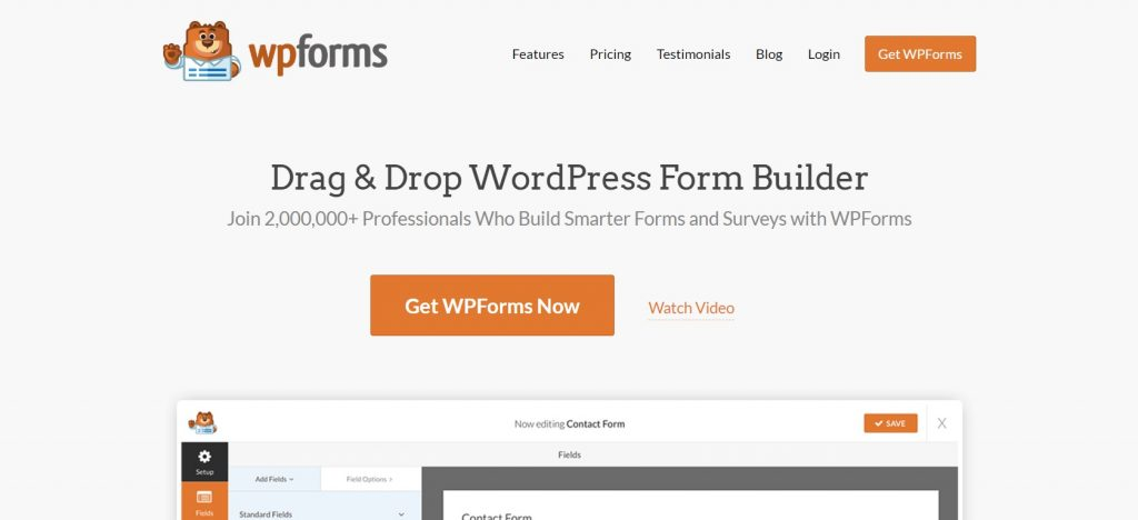 WPForms plugin homepage preview