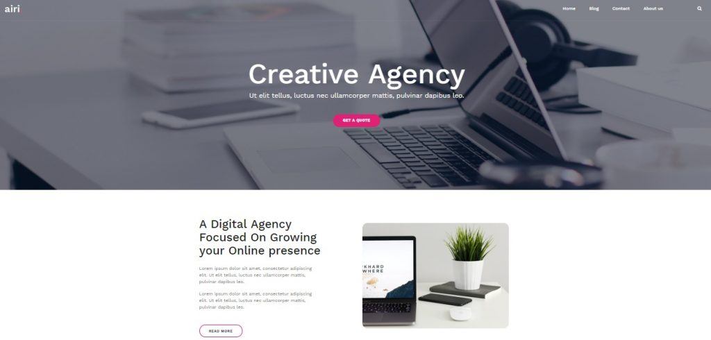 airi creative agency wordpress theme preview