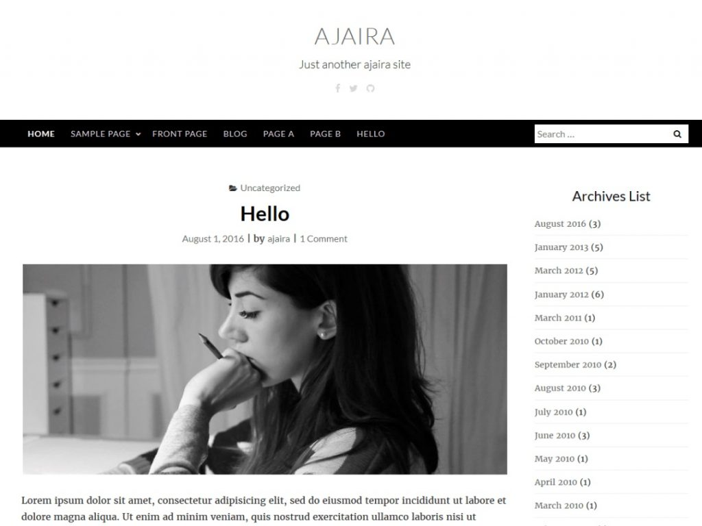 ajaira wp theme preview