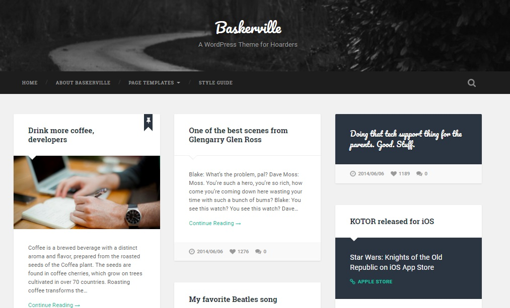 baskerville theme for wordpress layout