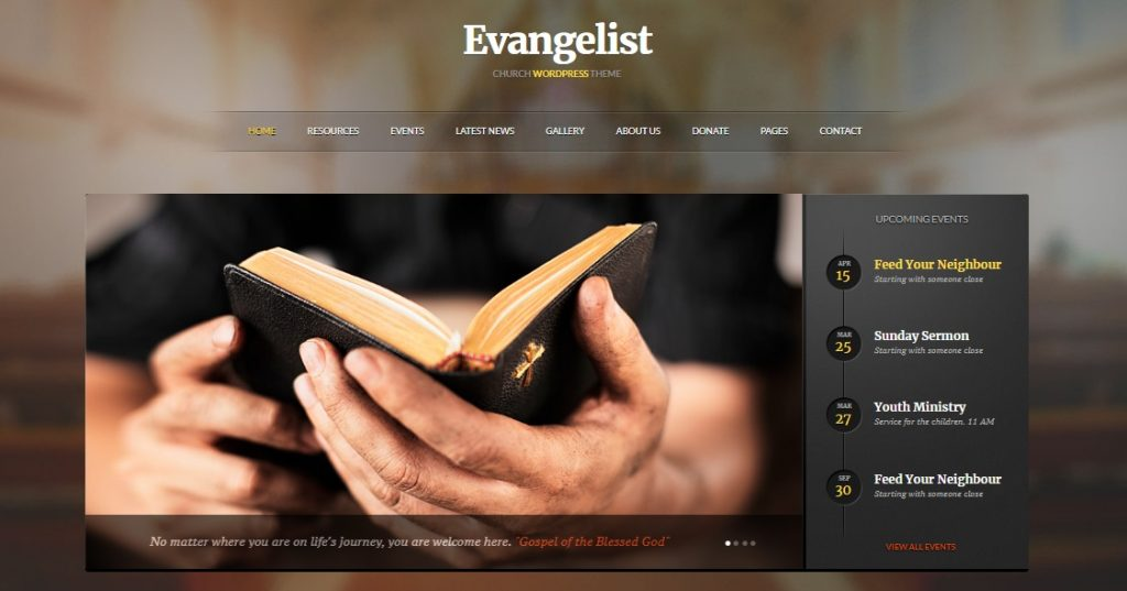 evangelist wordpress church theme preview