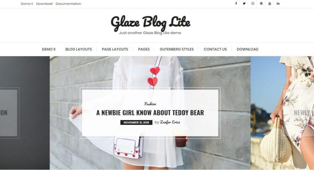 glaze blog lite wp theme preview