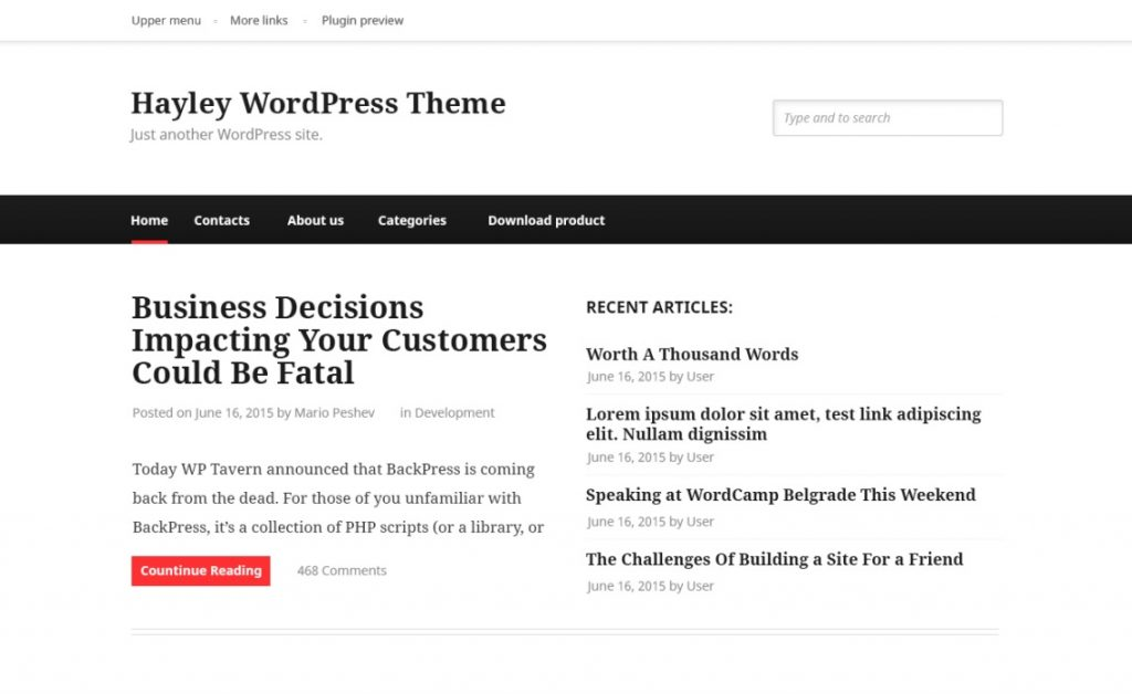 hayley wordpress theme preview