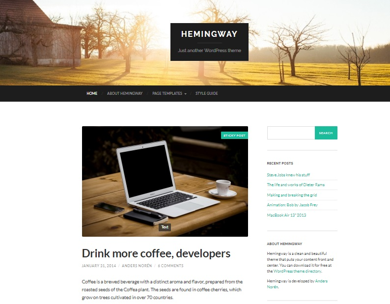 hemingway free wp theme preview
