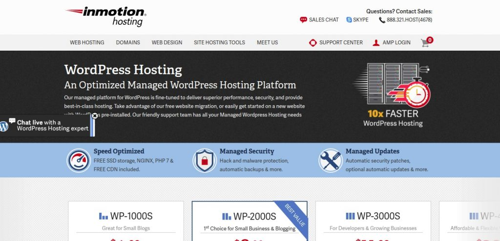 inmotion hosting services page preview