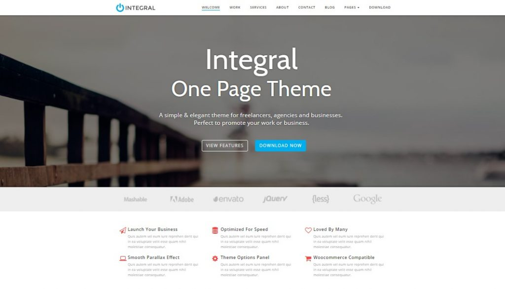 integral one page wordpress theme layout