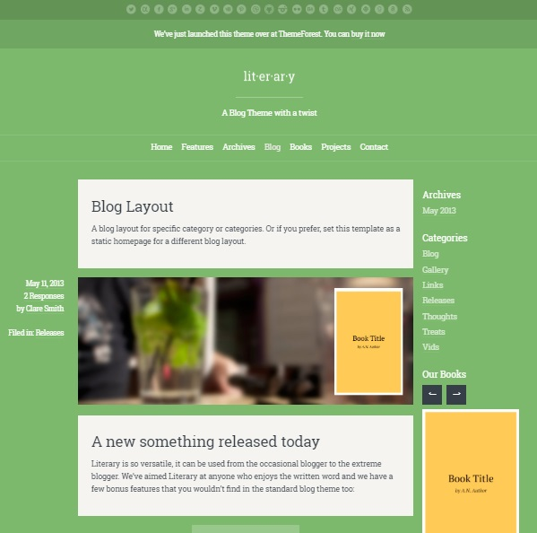 literary wordpress theme layout