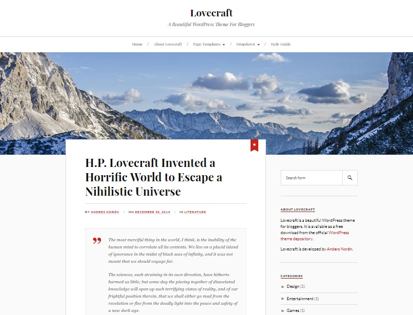 lovecraft wp theme preview