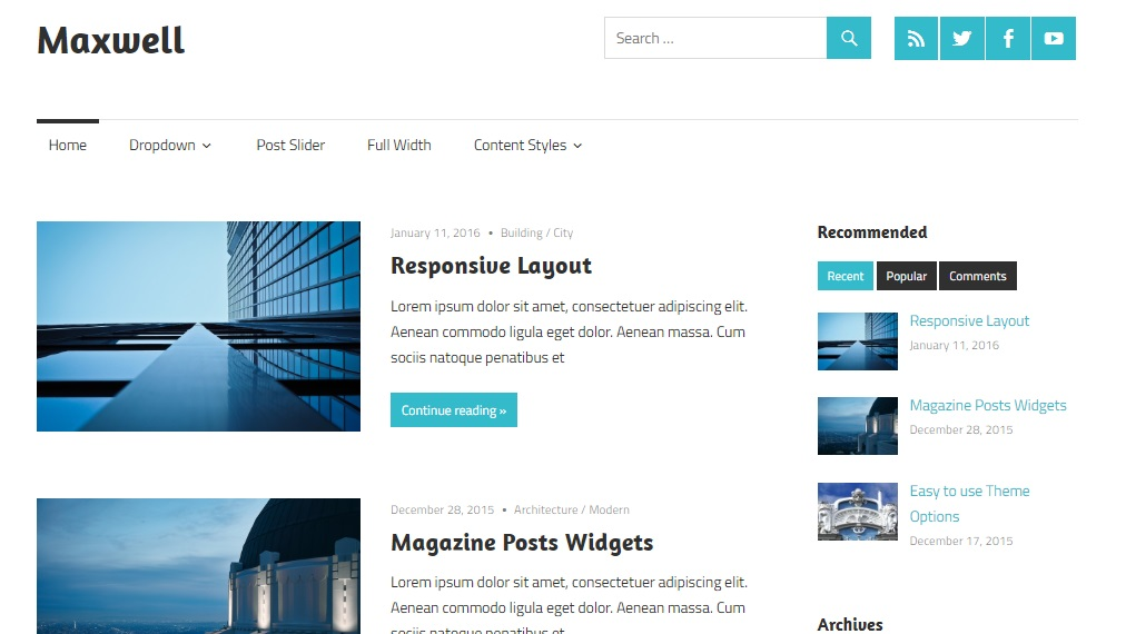 maxwell theme for wordpress preview