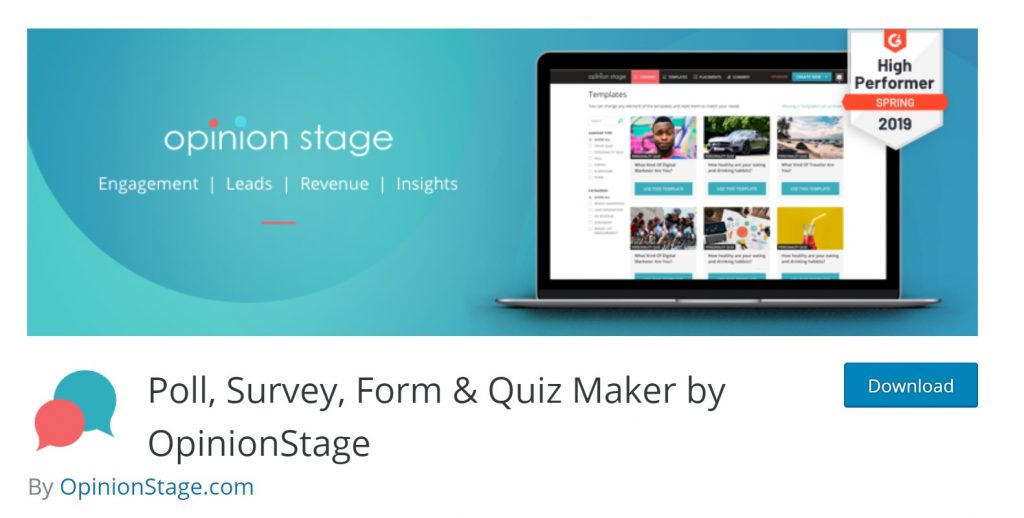 opinion stage wp plugin page preview