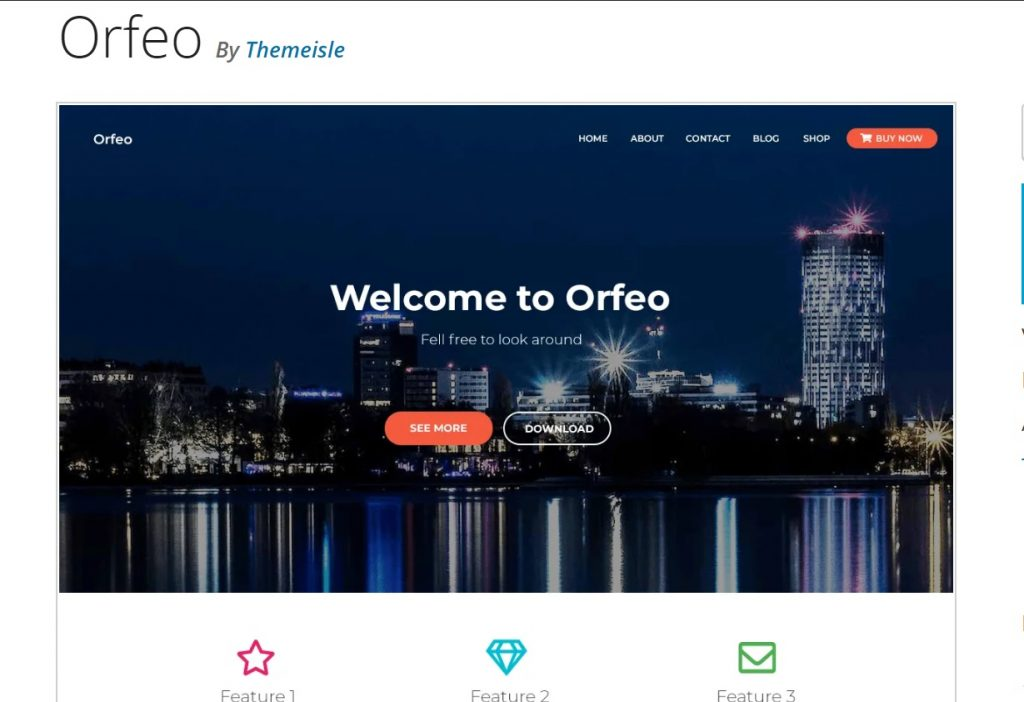 orfeo custom wordpress theme