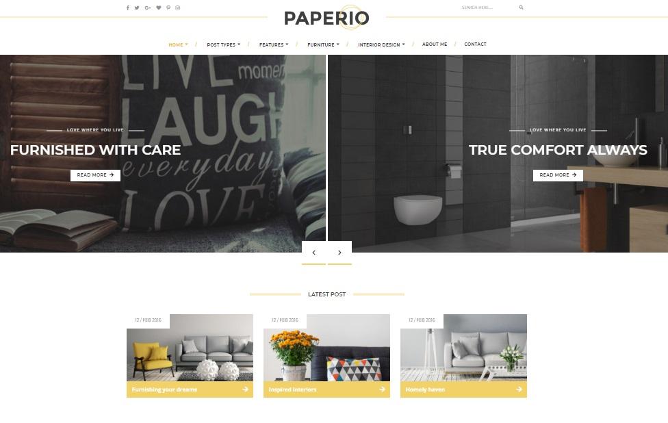 paperio theme homepage