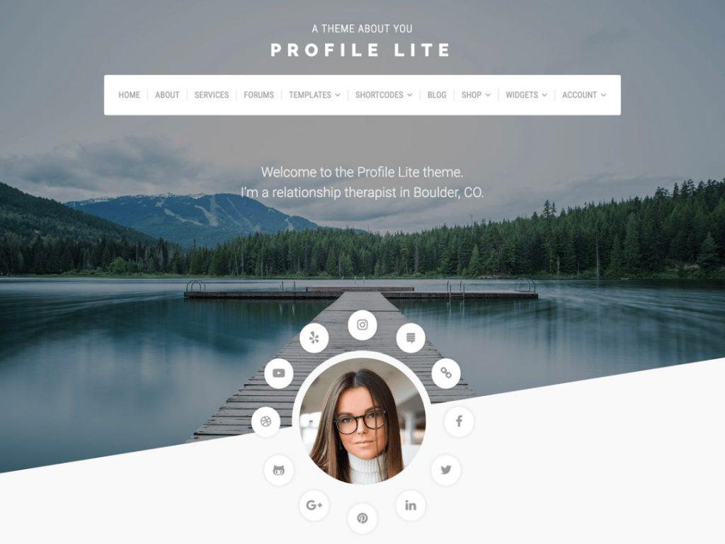 profile lite wp theme layout