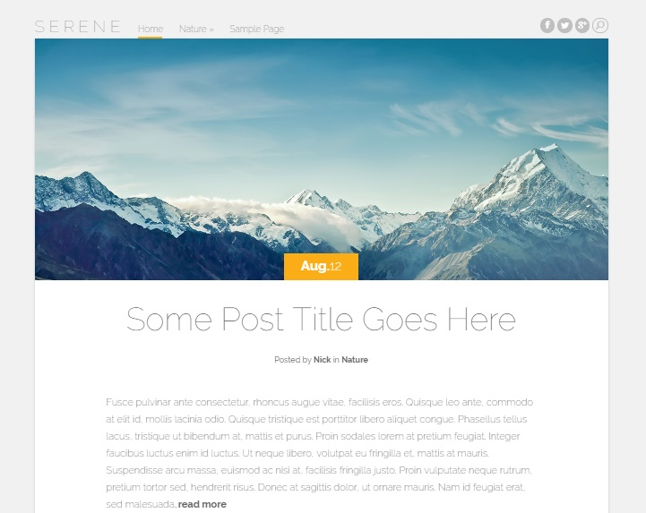 serene wordpress theme layout